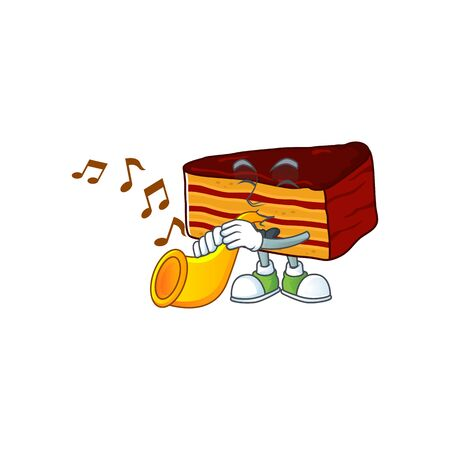 A brilliant musician of dobos torte cartoon character playing a trumpet. Vector illustration