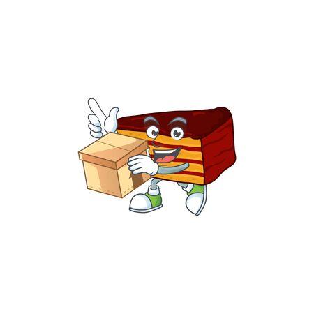 Dobos torte cartoon design style having gift box. Vector illustration