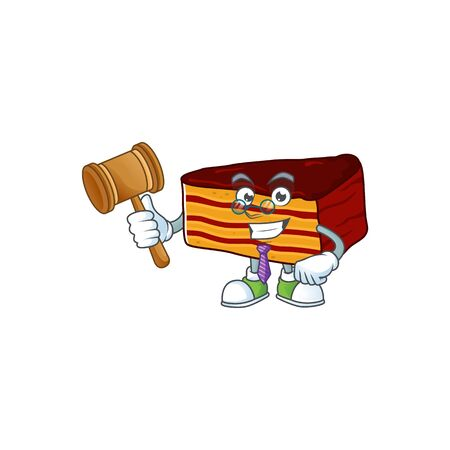 Charismatic Judge dobos torte cartoon character design with glasses. Vector illustration