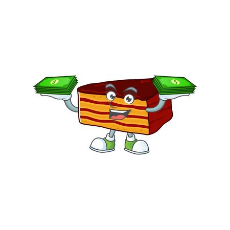 A cheerful dobos torte mascot design with some money on hands. Vector illustration
