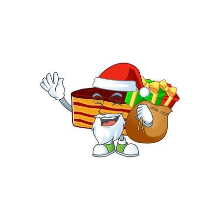Santa dobos torte Cartoon character design with sacks of gifts. Vector illustration 일러스트