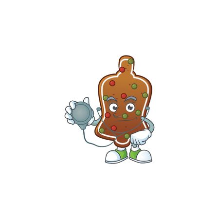 A dedicated Doctor gingerbread bell Cartoon character with stethoscope. Vector illustration