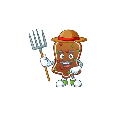 Mascot design style of Farmer gingerbread bell with hat and pitchfork. Vector illustration