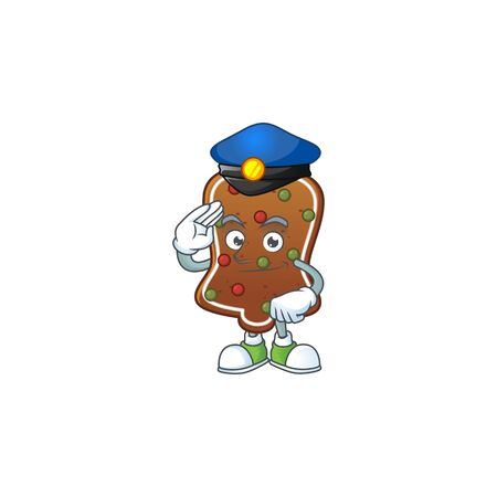 A dedicated Police officer of gingerbread bell mascot design style. Vector illustration