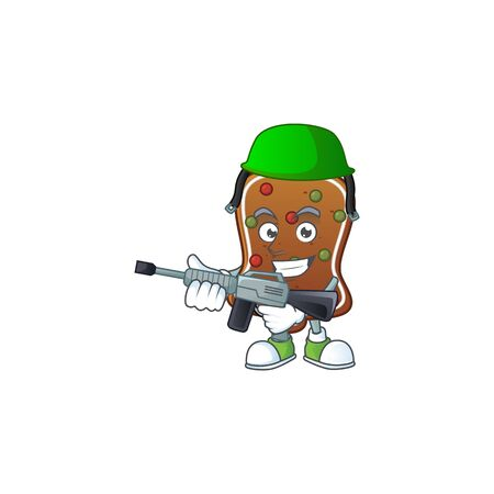 An elegant gingerbread bell Army mascot design style using automatic gun. Vector illustration Ilustração
