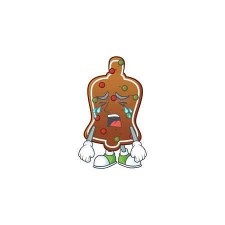 A weeping gingerbread bell cartoon character concept. Vector illustration