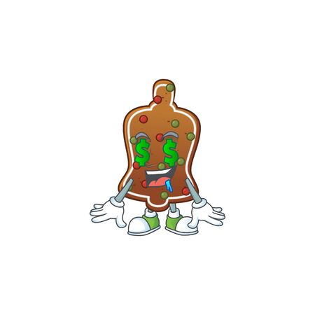 mascot character style of rich gingerbread bell with money eyes. Vector illustration