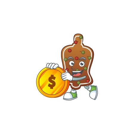 Gingerbread bell rich cartoon character have big gold coin. Vector illustration