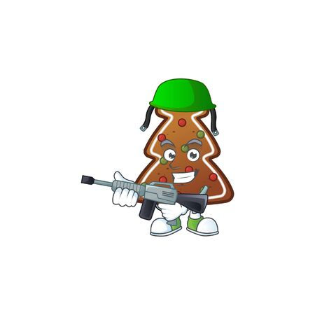 An elegant gingerbread tree Army mascot design style using automatic gun. Vector illustration Ilustração