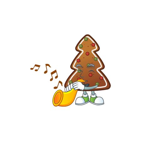 A brilliant musician of gingerbread tree cartoon character playing a trumpet. Vector illustration