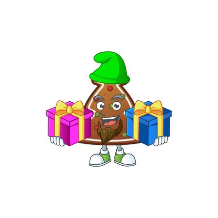 A smiling gingerbread tree cartoon design having Christmas gifts. Vector illustration