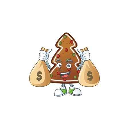 Blissful rich gingerbread tree cartoon character having money bags. Vector illustration