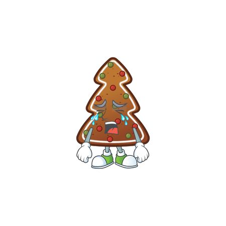 A weeping gingerbread tree cartoon character concept