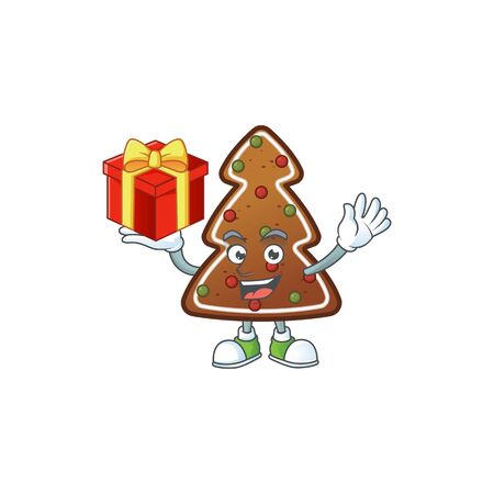 Charming gingerbread tree mascot design has a red box of gift