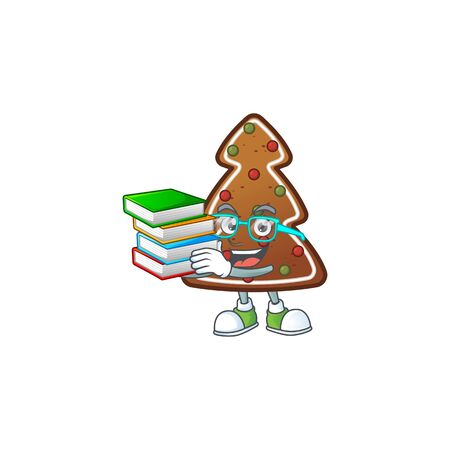A mascot design of gingerbread tree student character with book