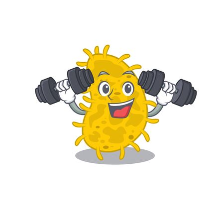 Mascot design of smiling Fitness exercise bacteria spirilla lift up barbells. Vector illustration