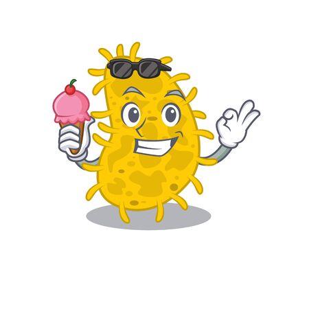 Cartoon design concept of bacteria spirilla having an ice cream. Vector illustration Illustration