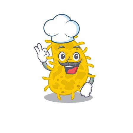 Bacteria spirilla chef cartoon design style wearing white hat. Vector illustration Illustration