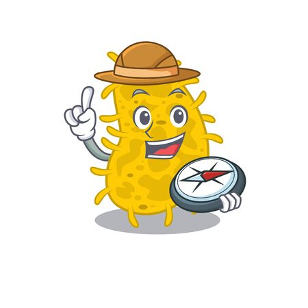 mascot design concept of bacteria spirilla explorer with a compass. Vector illustration