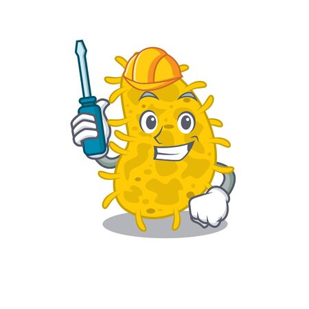 cartoon character of bacteria spirilla worked as an automotive. Vector illustration Ilustração