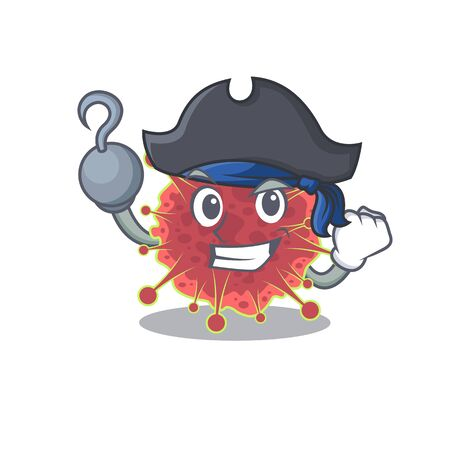 coronaviridae cartoon design style as a Pirate with hook hand and a hat. Vector illustration
