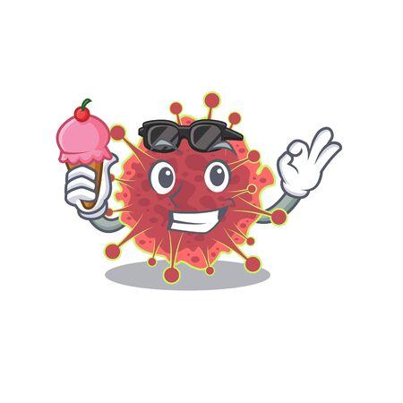 Cartoon design concept of coronaviridae having an ice cream. Vector illustration