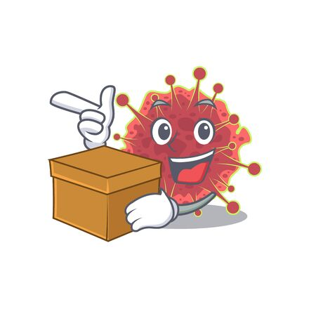 An picture of coronaviridae cartoon design concept holding a box. Vector illustration