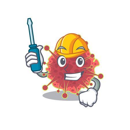 cartoon character of coronaviridae worked as an automotive. Vector illustration Imagens - 144029577