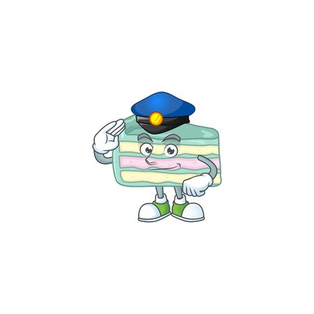A dedicated Police officer of vanilla slice cake mascot design style. Vector illustration 向量圖像