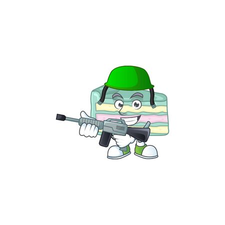 An elegant vanilla slice cake Army mascot design style using automatic gun. Vector illustration