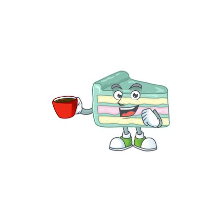 An image cartoon character of vanilla slice cake with a cup of coffee. Vector illustration Vectores