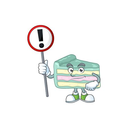 A picture of vanilla slice cake cartoon character concept holding a sign. Vector illustration