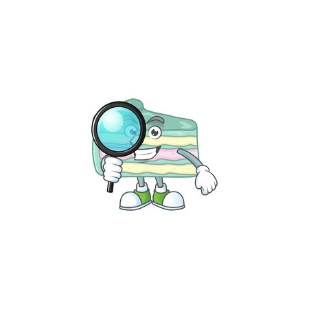 Smart Detective of vanilla slice cake cartoon character design concept. Vector illustration