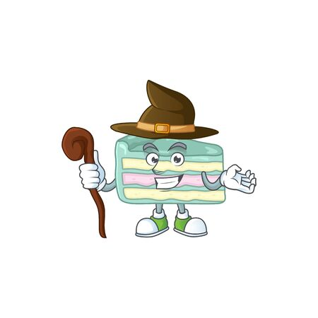 Cute and sneaky Witch vanilla slice cake cartoon design style. Vector illustration