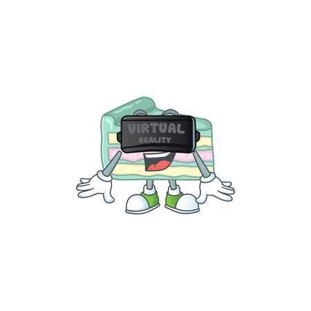 A cartoon mascot of vanilla slice cake enjoying game with Virtual reality headset. Vector illustration