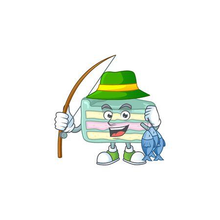 A Picture of vanilla slice cake fisher mascot design catch a fish. Vector illustration Illustration