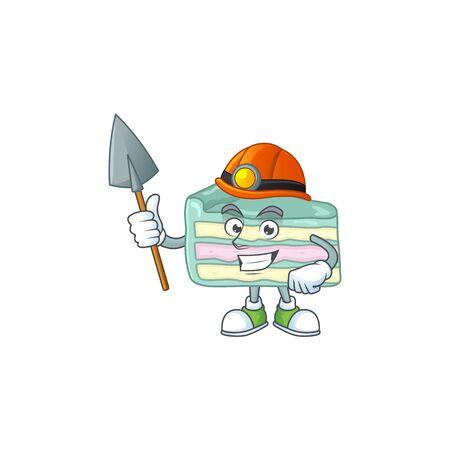 cartoon character design of vanilla slice cake work as a miner. Vector illustration