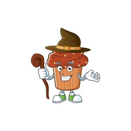 Cute and sneaky Witch chocolate cupcake cartoon design style. Vector illustration