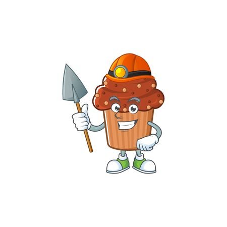 cartoon character design of chocolate cupcake work as a miner. Vector illustration
