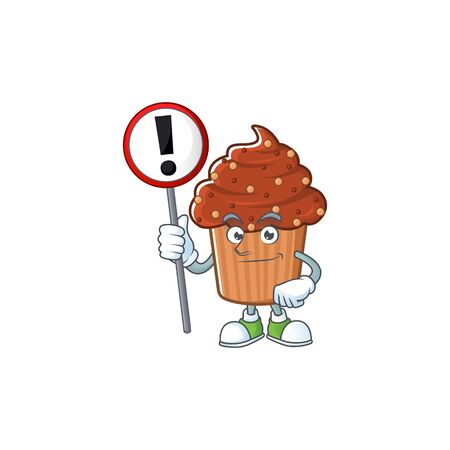 A picture of chocolate cupcake cartoon character concept holding a sign. Vector illustration