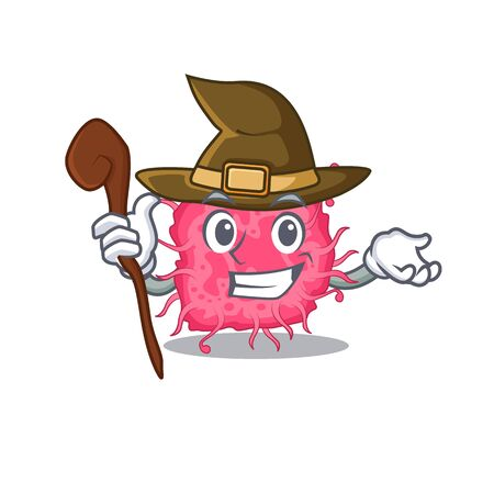 pathogenic bacteria sneaky and tricky witch cartoon character. Vector illustration
