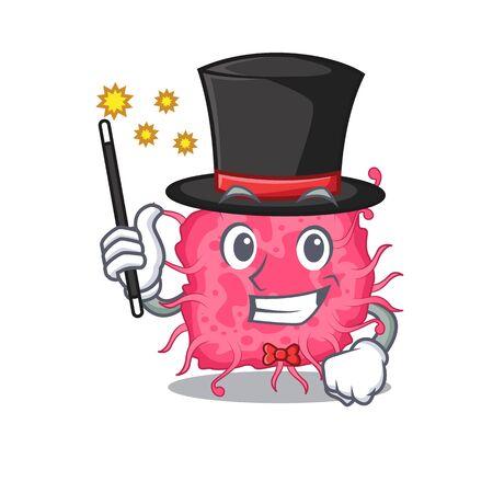 An attractive Magician of pathogenic bacteria cartoon design. Vector illustration