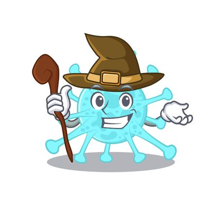 cegacovirus sneaky and tricky witch cartoon character. Vector illustration