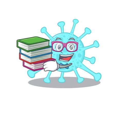 A diligent student in cegacovirus mascot design concept with books. Vector illustration 向量圖像