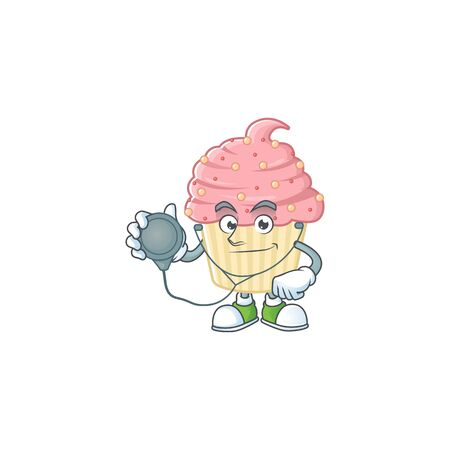 A dedicated Doctor strawberry cupcake Cartoon character with stethoscope. Vector illustration Ilustrace