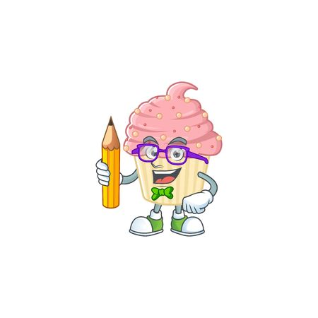 Strawberry cupcake student cartoon character studying with pencil. Vector illustration 向量圖像