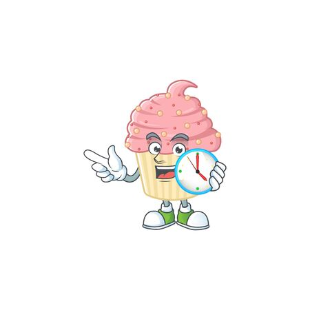 Strawberry cupcake mascot design concept holding a circle clock. Vector illustration