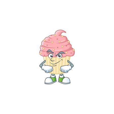 Strawberry cupcake mascot design style with grinning face. Vector illustration