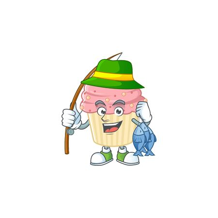 A Picture of strawberry cupcake fisher mascot design catch a fish. Vector illustration