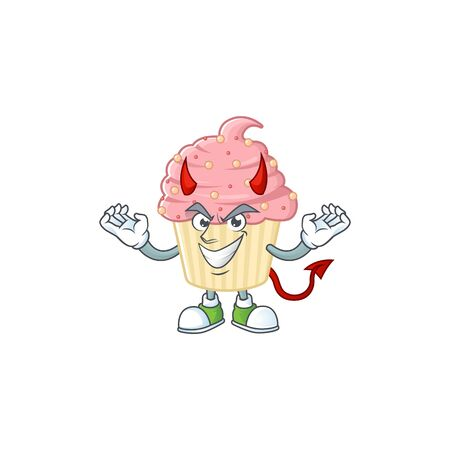 A picture of devil strawberry cupcake cartoon character design. Vector illustration